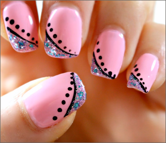 Elegant Minimalism - Pink And Blue Nail Art Pinit - 30 Cute Pink Nail Art Design Tutorials With Pictures