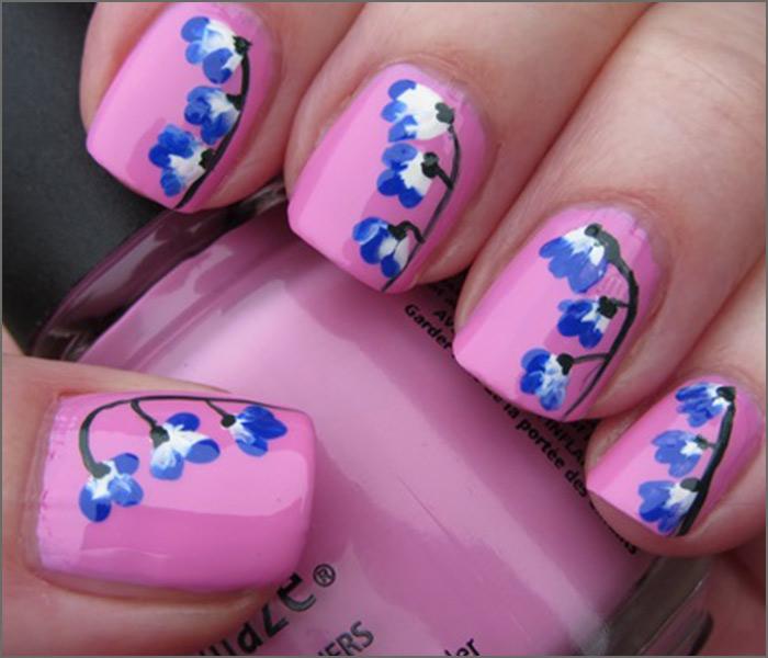 Pink and Blue Blossoms Nail Art