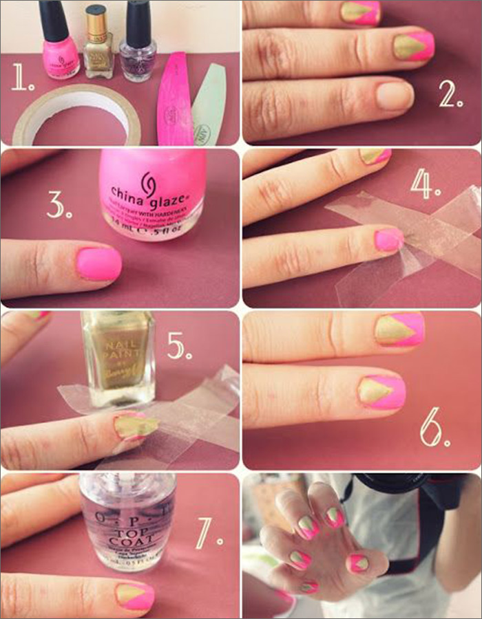 Pink and Gold Angled Accent Nail Art