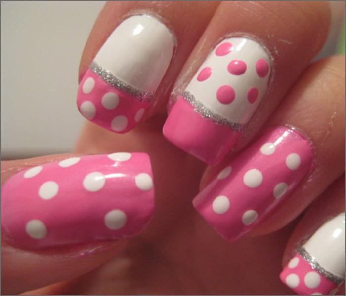 Pink And White Nail Designs - Pink Polka Magic