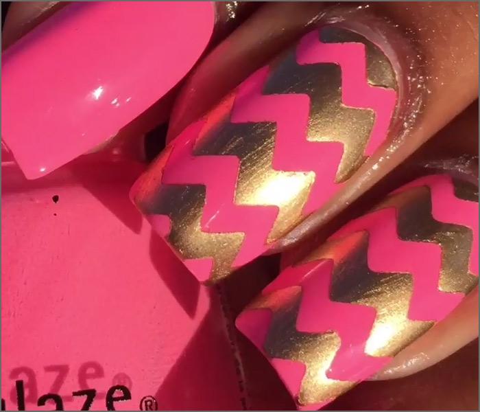 Pink and Gold Chevrons Nail Design