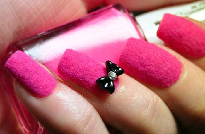 Pink Velvet Acrylic Nail Art