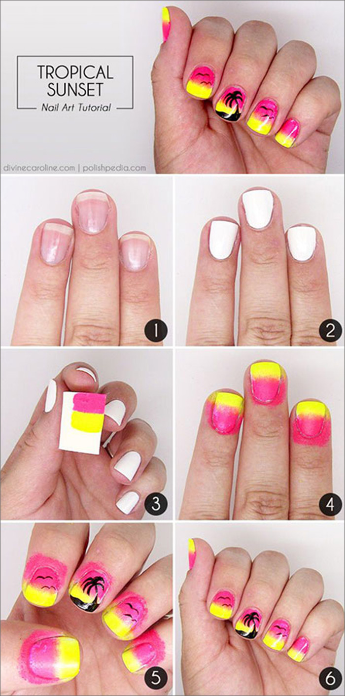 Tropical Sunset - Pink And Yellow Nail art Tutorial