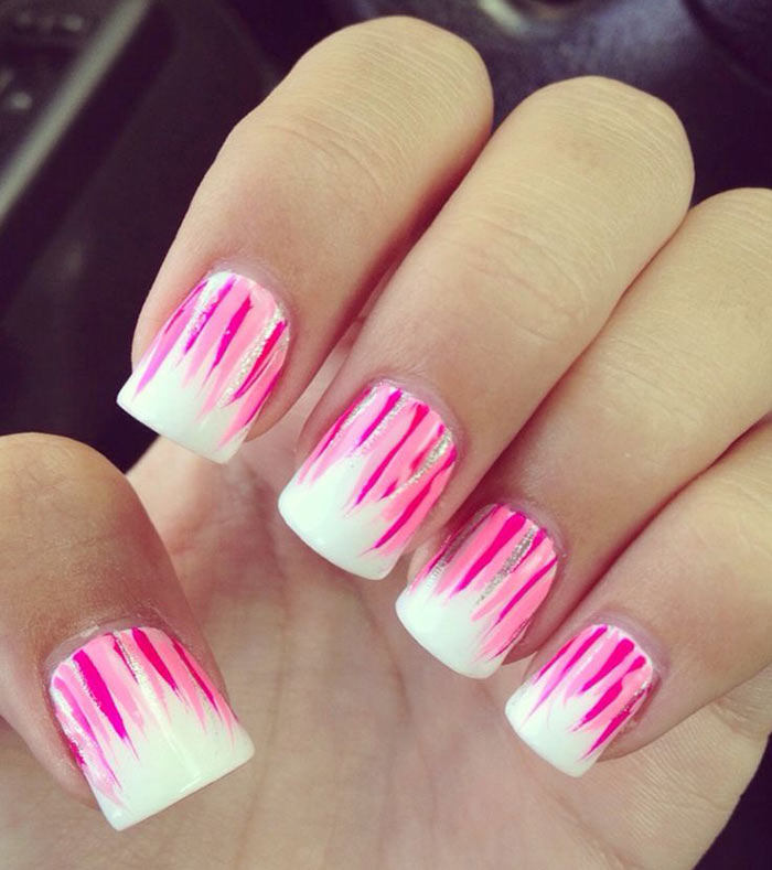 Pink And White Nail Designs - Pink Flames