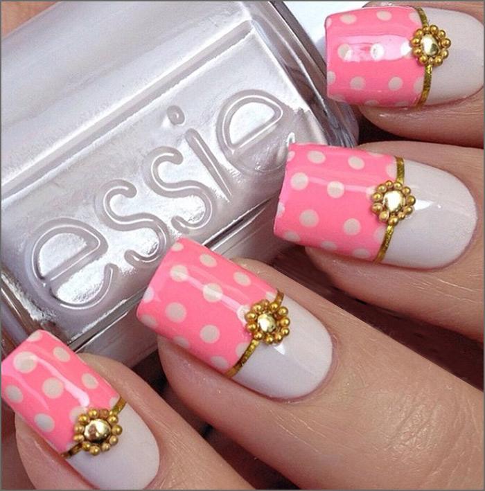 Half n Half Glam Pink Nail Art