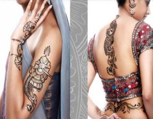 back and upper arms bridal designs