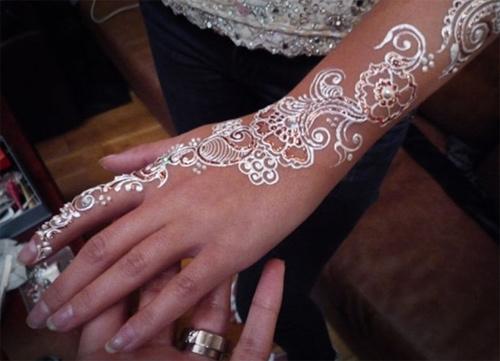 beautiful white henna designs two
