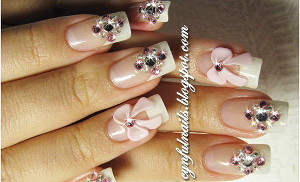 Best Rhinestone Nail Art Designs - Pink Bow And Rhinestone Nail Art