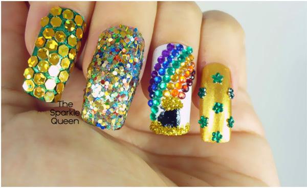 Best Rhinestone Nail Art Designs - Rainbow Rhinestone Nail Art