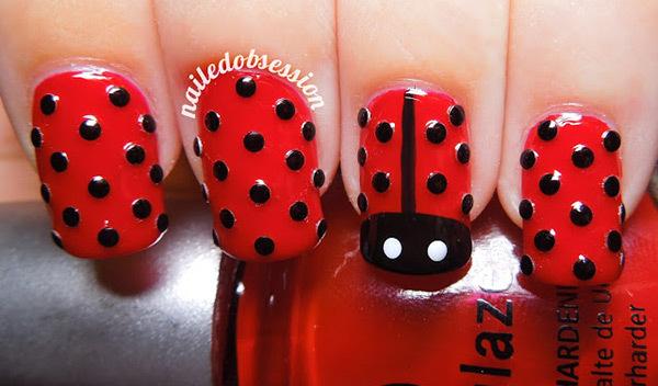Best Rhinestone Nail Art Designs - Studded Lady Bug Nail Art