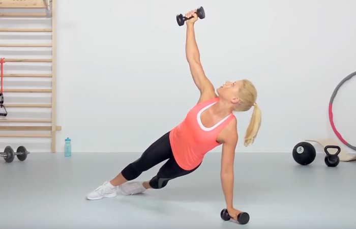 Chest Exercises For Women - Dumbbell Plank Rotation