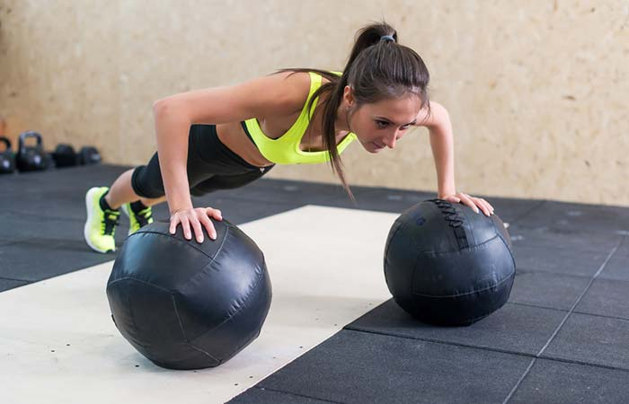 Chest Exercises For Women - Medicine Ball Push-up