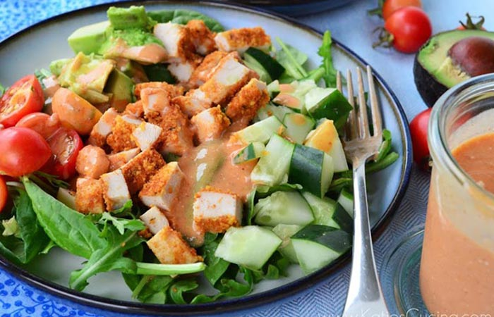 Low Calorie Lunch - Chopped Salad With Tangy Parmesan Dressing