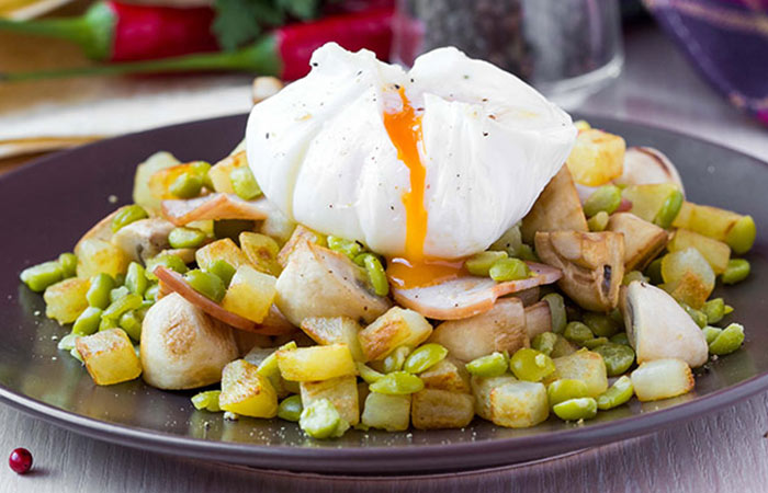 Low Calorie Lunch - Lentil Salad With Poached Eggs