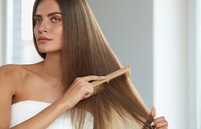 Detangle your hair when it's semi-dry