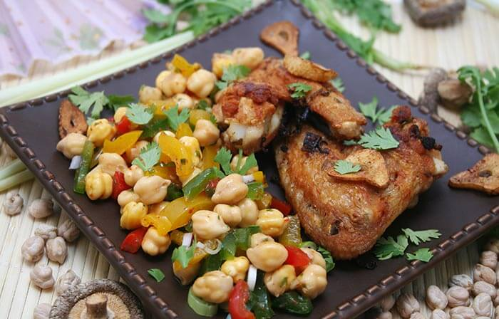Low Calorie Dinner Recipes - Chicken, Squash And Chickpea Salad