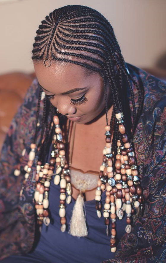 Delightful Feed In Beaded Braids