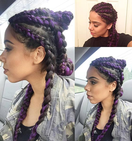 Deep Purple Cornrow Buns