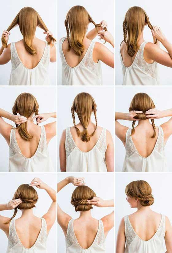 Chignon-With-Fishtail-Braids