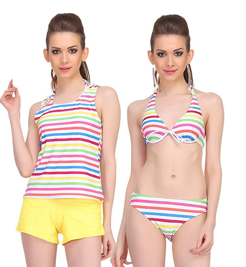 Swimming Costumes For Ladies - 3. Four Piece Striped Suit