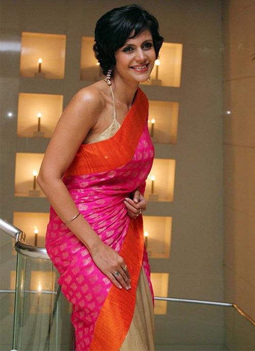 Hot Pink Jute Saree With Halter Neck Blouse