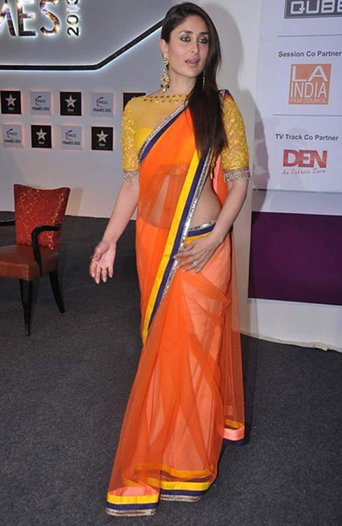 Orange Chiffon Saree With Yellow Embroidered Boat Neck Blouse