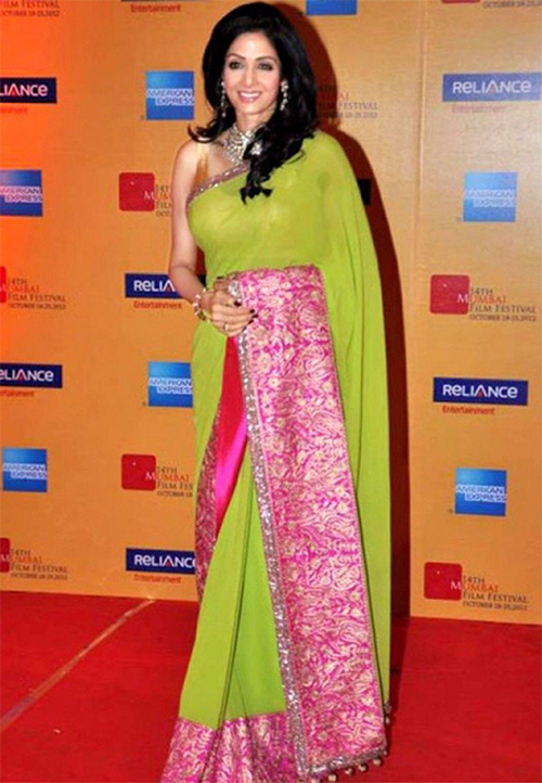 Parrot Green, Hot Pink Chiffon Saree With Rose Gold Blouse