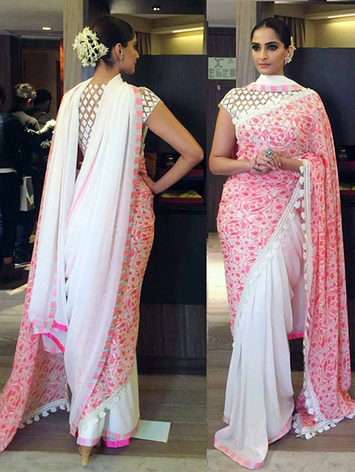 Peach And Pink Georgette Saree With Multi Work Blouse