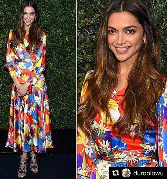 Deepika Padukone In A Neon Dress