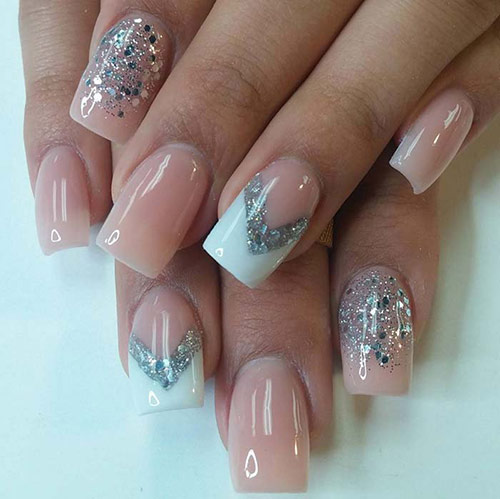 Silver Glitter Acrylic Nails with Beige