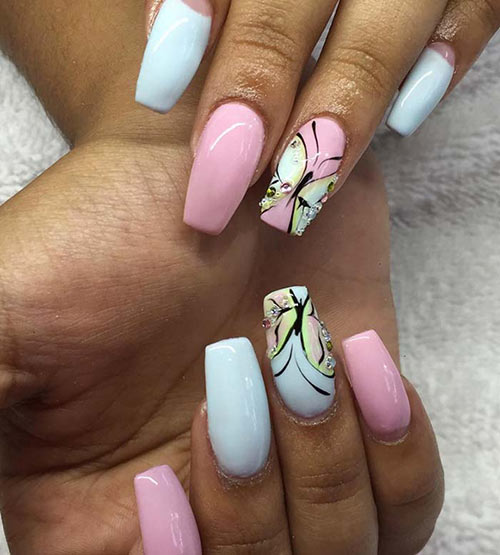 Pastel Butterfly Acrylic Nails