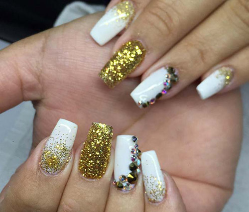 All That Glitters Is Gold - Acrylic Nail Designs