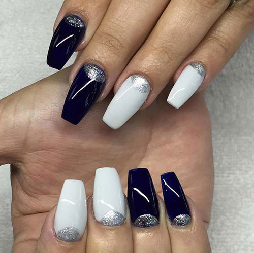 Black and White Acrylic Nails with Silver Moons