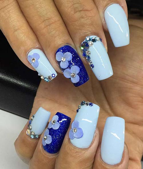 Blue Acrylic Nails with Flowers