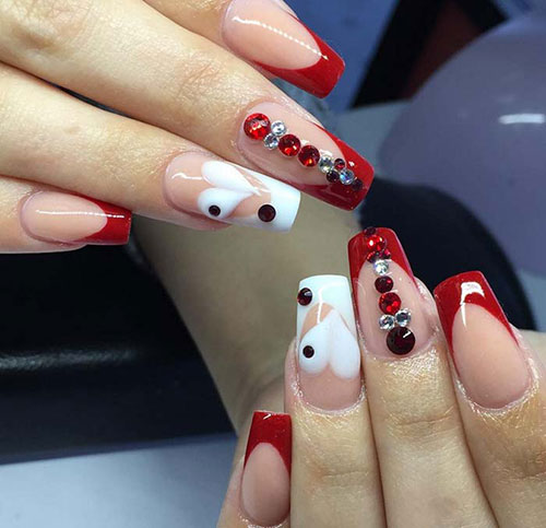 Heart Acrylic Nails with Red Tips - Valentines Acrylic Nail Designs