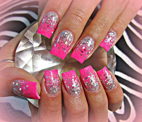pink and silver glitter acrylic nail designs pinit