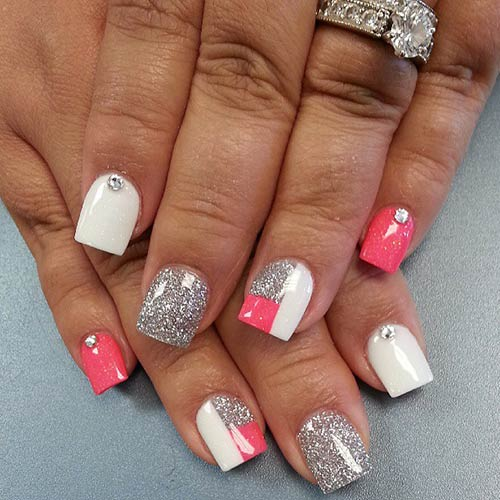 Peach and Glitter Acrylic Nails