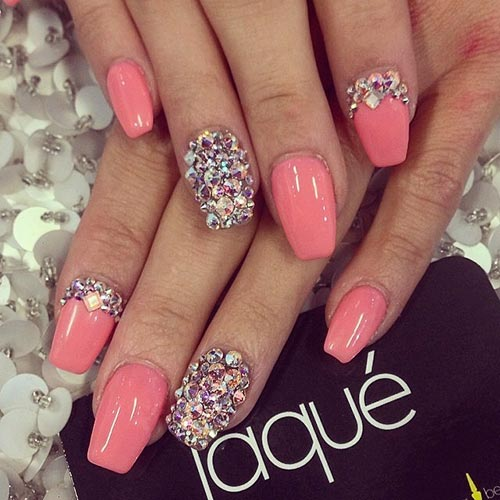 chunky rhinestones with pink nails acrylic nail designs pinit