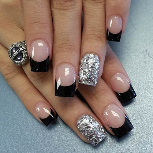 Black French Tips with Silver Accent Nail