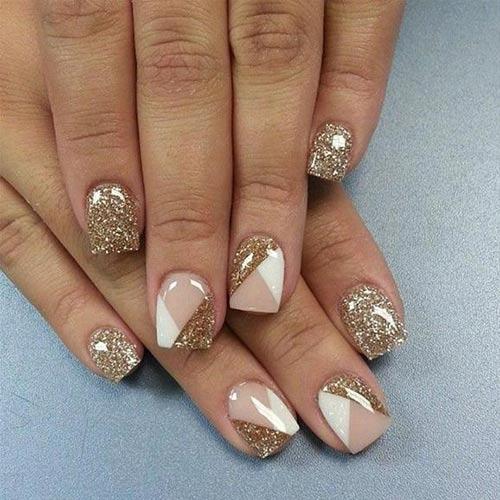 Glitter Acrylic Nails with Geometric Patterns