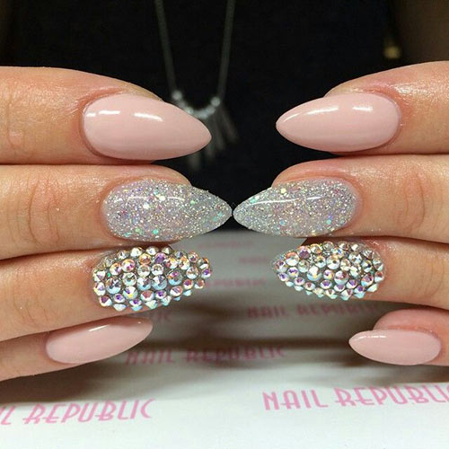 Glitter and Rhinestone Almond Nails - Acrylic Nail Designs