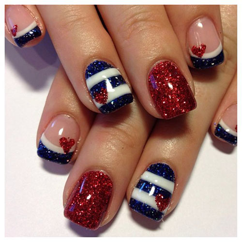 Red White and Blue Glitter Acrylic Nail Design