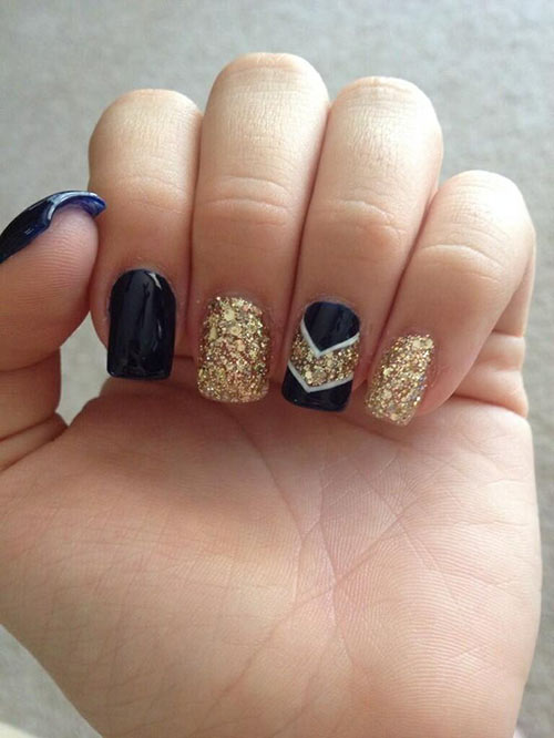 Navy Blue and Gold Royalty Acrylic Nail Design
