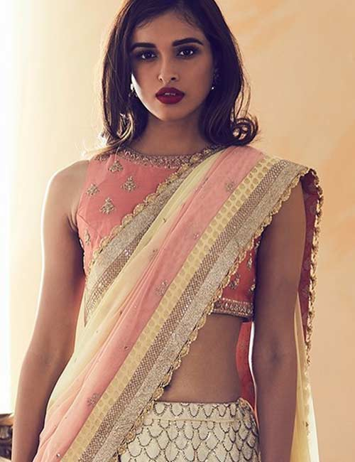 1. Sleeveless Boat Neck Design For A TulleNet Saree