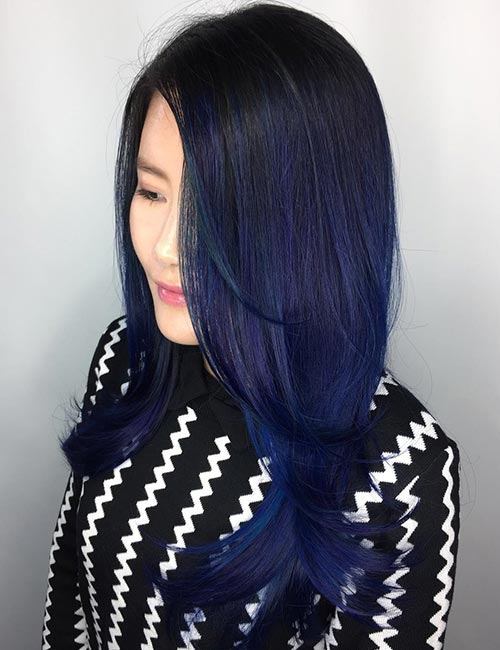 poseidons whispers blue root melt balayage for black hair