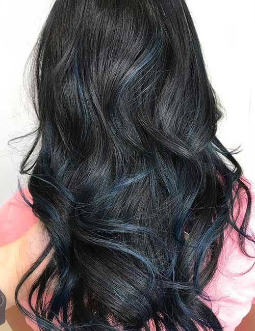 Curly Black Hair With Blue Highlights Best Hair Style 2017