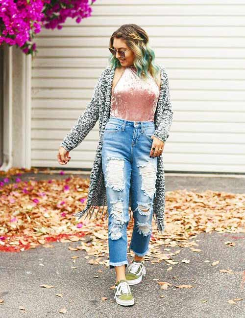 High Waisted Jeans - Ripped High Waisted Jeans With A Bodysuit And Kimono