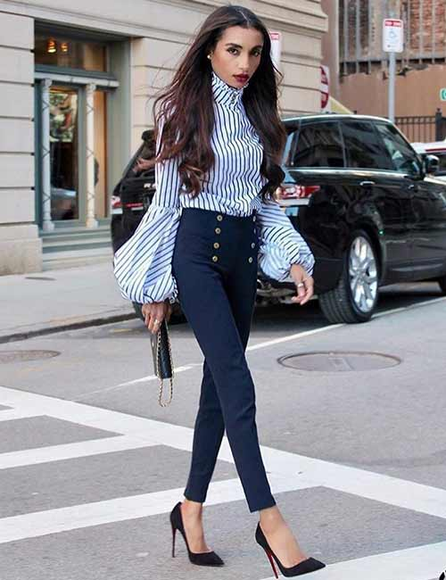 High Waisted Jeans - With A Bell Sleeved Stripe Shirt