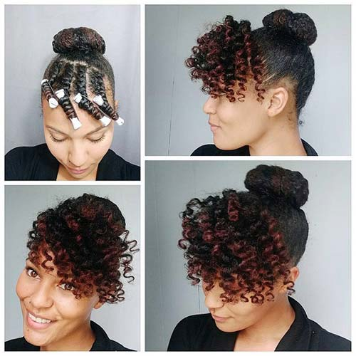 5. Top Knot With Curly Bangs