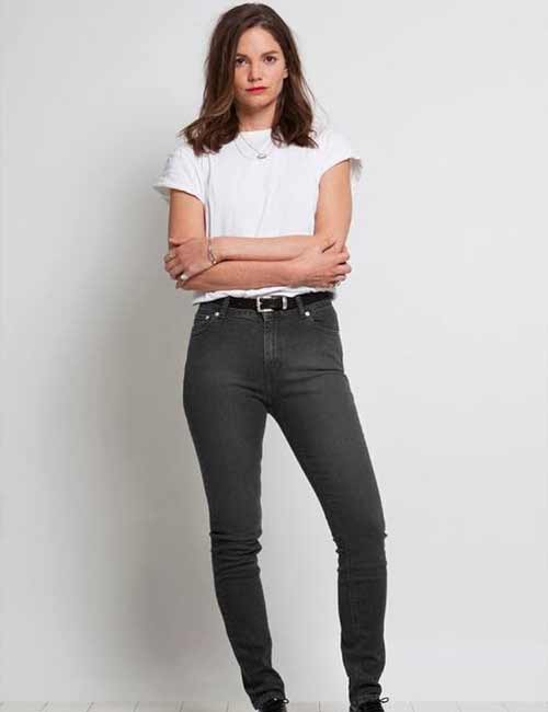 High Waisted Jeans - With A Plain White T-Shirt, Tucked In